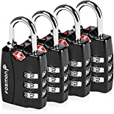 TSA Approved Luggage Locks, Fosmon Open Alert Indicator 3 Digit Combination Padlock Codes Alloy Body for Travel Bag, Suit Case, Lockers, Gym, Bike Locks or Other