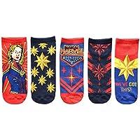 Marvel Captain Marvel Juniors/Ladies 5 Pack Low Cut Ankle Socks
