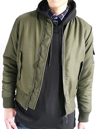 (モノマート) MONO-MART MA-1 ジャケット エムエーワン 中綿 暖かい フルジップ ノーカラー 流行 ミリタリー 長袖 カジュアル こなれ感 MODE メンズ カーキ Mサイズ