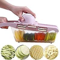 野菜スライサー・カッター 調理器具 六つブレード 収納便利 キッチン用品 安全ホルダー付き 透明な収納ボックス キッチン用品 野菜調理器セット 皮むき器(ピーラー)付き 小麦わら製