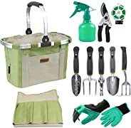 INNO STAGE Garden Hand Tools Set with Gardening Apron and Foldable Basket Bag