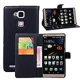 【LTik™】Huawei Ascend Mate 7レザーケース 手帳型 磁石式ウォレット型 財布型保護カバー 携帯電話・スマートフォン プロテクター カードホルダー スタンド機能付き (黒い)