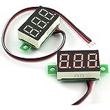 HJ Garden 2pcs Mini Digital Voltmeter 0.36-Inch DC 0V-30V 3 Wire LED Display Voltage Tester DIY Auto/Motorbike Battery Voltage Monitor Red LED