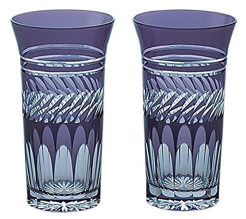江戸切子 菱重ね 一口ビール ペア (木箱入) 紫 01-632-1