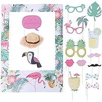 Hawaiian Tropical Photo Frame Photo Booth Set Flamingo Pineapple Photo Booth Props Hawaii Luau Party Suppliesシ16pcs シ