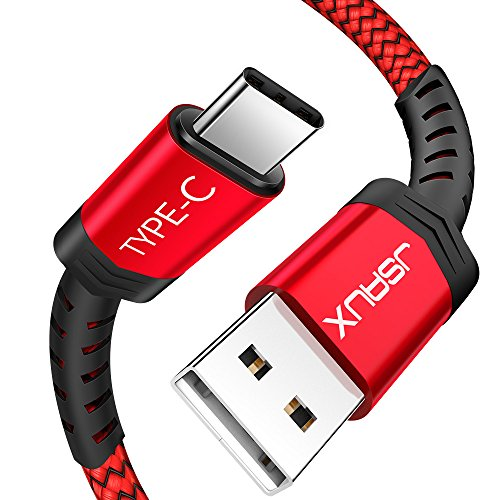 JSAUX USB Type C ケーブル 2m超高耐久ナイロン編み 万回以上の折り曲 USB C 2.4A急速充電 480Mb/s高速データ転送 QuickCharge3.0対応 56Kレジスタ使用 Samsung Galaxy Note 8/S8/S8+、LG G5/G6/V20/V30、Sony Xperia XZ/XZs/X Compact、Google Pixel 2 XL、Nexus 5X/6P、Huawei P9、新しいMacBook、Nintendo Switch などのType-C機器対応 (赤)