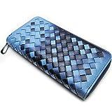 【MIKA&MAYA】 長財布 編み込み メッシュ ラウンド ファスナー カード ウォレット メンズ (ブルー)