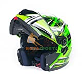バイクヘルメット システムヘルメット フルフェイス ジェット ダブルシールド  モンスターエナジー VOX V-308[L/04.緑]