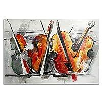 HUYYA 油絵、キャンバスウォールアート、100%ハンドペイントされた音楽ギター抽象的なフレームアートワークストレッチとフレーム - リビングルーム/寝室用モダンルーム装飾 - 23.5x35.5インチ