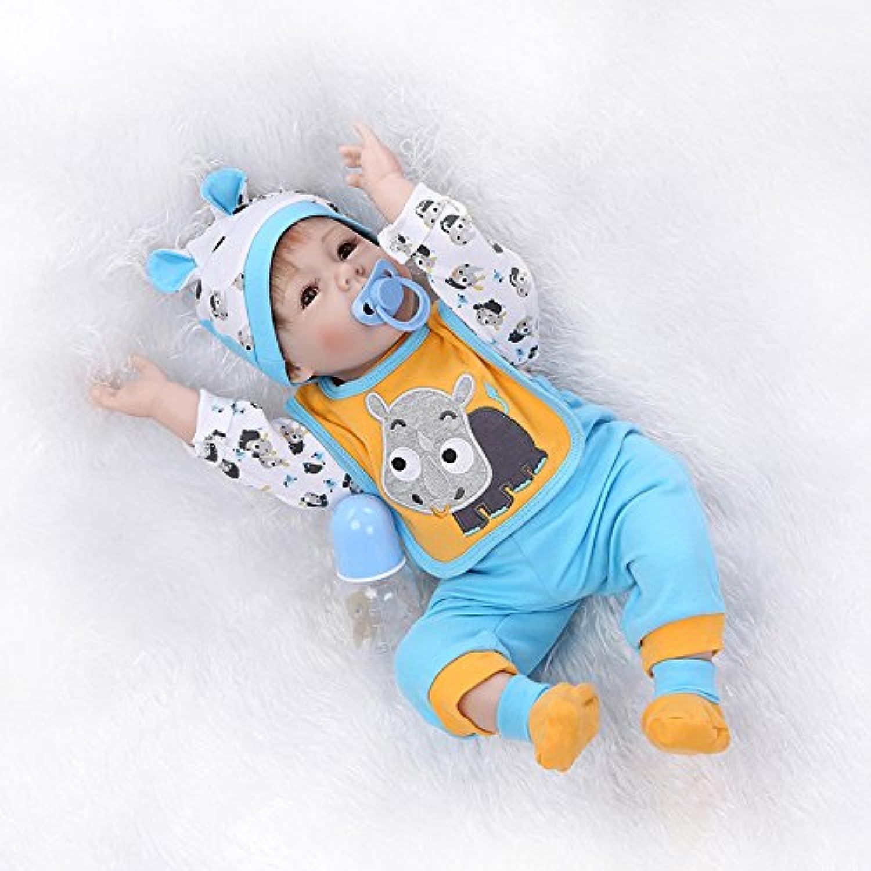 Nicery 人形 Babyリボーンベビードールソフトシリコンビニール22インチの55センチメートル磁気口リアルな少年少女の玩具ブルーオレンジ Reborn Dolls JP