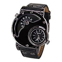 Men 's Dual Timeクオーツ腕時計ブラック