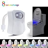 8-color Changing Motion Activatedトイレ夜ライト、LEDトイレ便座夜間with Humanモーションセンサー、ライト検出、ホワイト