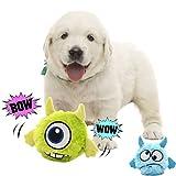 Pawsfun犬おもちゃ 電動おもちゃ 自動 音が鳴る スクィーカー入り 犬噛む ぬいぐるみ二個付き ジャンプ かわいい犬用おもちゃ 丈夫 ストレス解消 運動不足解消