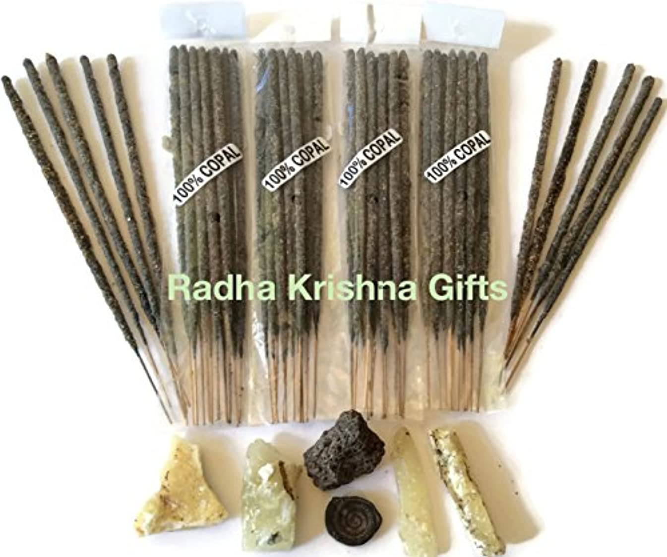 Mexican Copal Incense, 4 Bags with 10 Sticks Each. Handmade in Mexico with Grey Copal Resin.