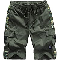 Mens Cargo Shorts with Camo Twill Elastic Waist Relaxed Fit Multi-Pockets Cotton