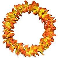 HuaQingPiJu-JP アクティビティデコレーションお祝い花輪ハワイアンガーランドフラワーネックリング_Sunset Red