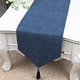 テーブルランナー ホームデコレーション 北欧 タッセル 工芸品 モダン おしゃれ 長方形 エレガント (Color : Blue, Size : 33*180cm)