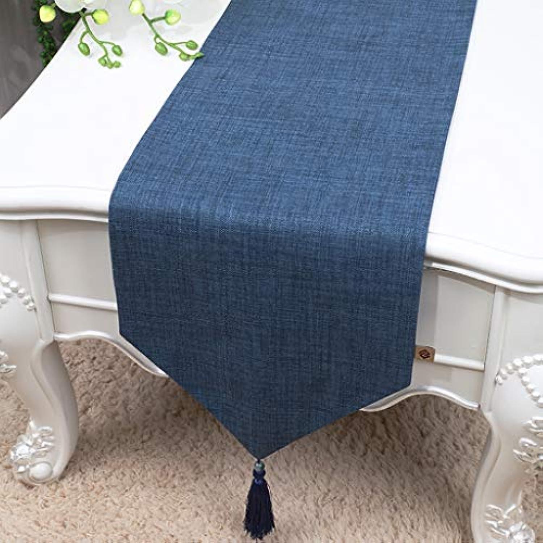 テーブルランナー ホームデコレーション 北欧 タッセル 工芸品 モダン おしゃれ 長方形 エレガント (Color : Blue, Size : 33*150cm)
