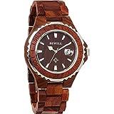 [ビーウェル]BEWELL 腕時計 ウッドウォッチ 木製 ダイバーズウォッチ風 5気圧防水 カレンダー 夜光 ZS-W100BG-WE 紅壇 メンズ [並行輸入品]