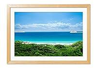 ホリデービーチ 風景の写真 木製フレーム 額縁 壁掛け ホーム装飾画 装飾的な絵画 壁の装飾 ポスター(35x50cm 原色)