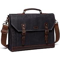 Vaschy Casual Genuine Leather Canvas Messenger Bag 15.6 inch Laptop Shoulder Bag Bookbag