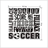 "Homefind (21""w x 22""h) - Halfback Fullback Goalie Score Pass Kick Forward Soccer - Sports Theme Wall Stickers Removable Lettering Vinyl Wall Art Decals Art Decor Mural for Boys Room"