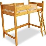 木製 天然木 ベッド ロフトベッド システムベッド はしご すのこ板 シングル ライトブラウン