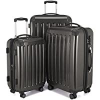 Hauptstadtkoffer Alex Set of 3 Luggages Suitcase Hardside Spinner Trolley Expandable TSA, Black, Set