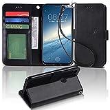 【Arae】 iPhone X ケース 手帳型「 スタンド機能 カードポッケト ストラップ」人気 おしゃれ 落下防止 衝撃吸収 財布型 おすすめ アイフォン X 用 ケース カバー (ブラック)