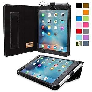 英国Snugg社製 Apple iPad Mini 4 用 レザーケース - スタンド機能・生涯補償付き (ブラック)