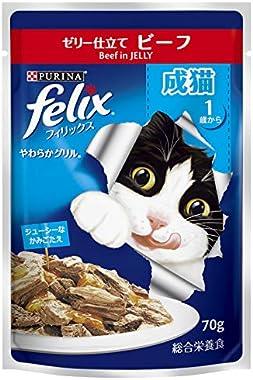 フィリックス やわらかグリル ゼリー仕立て キャットフード ビーフ 成猫用 70g×12袋入 (まとめ買い)