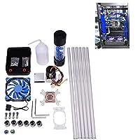 水冷キット Acouto DIY 120mmヒートシンク CPUウォーターブロック ポンプリザーバ LEDファンコン ピュータ水冷システム 液体冷却 オールインワン液体CPUクーラーキット