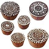 粘土 印刷スタンプ 魅力的 円形 フローラル パターン 木製ブロック (のセット 6)