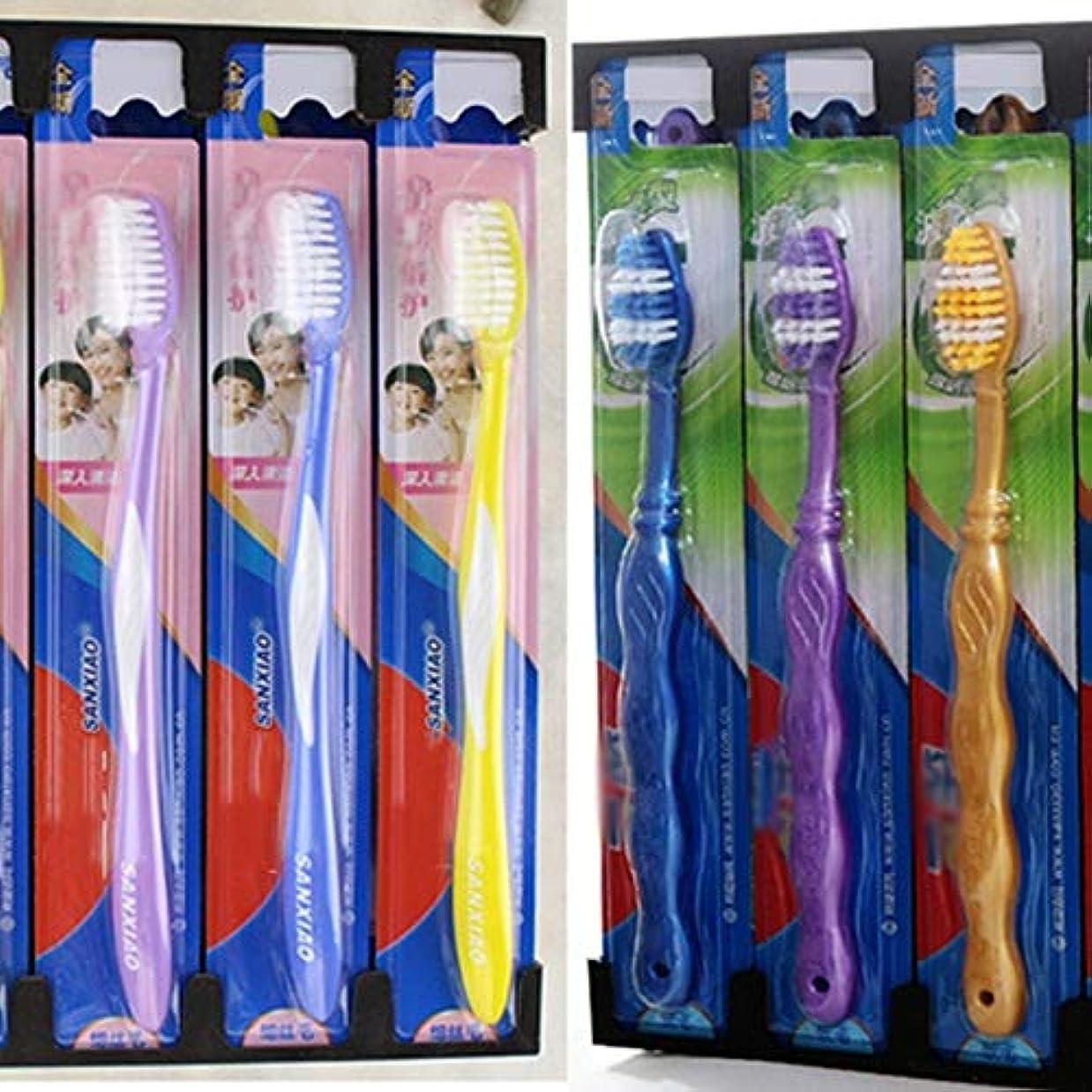 大気壁意図的歯ブラシ 30本の歯ブラシ、旅行歯ブラシ、家族バルク大人歯ブラシ、ミディアム歯ブラシ - 使用可能なスタイルの3種類 HL (色 : C, サイズ : 30 packs)