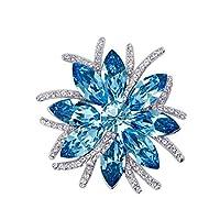 JJYZD ブローチ、ファッション日の花のブローチ、スワロフスキーエレメントレディースクリスタルピンバックルブローチセーターチェーン (Color : Ocean Blue, Size : 4.3*4.3cm)