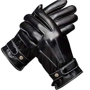 GOOACC スマホ 防寒 防水 防風 レザー 手袋 冬 暖かい 滑り抵抗 アウトドア バイク 自転車 グローブ フリーサイズ (ブラック)