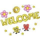 Prettyia バルーン 風船 歓迎 ようこそ Welcome 飾り パーティー 壁飾り 2タイプ選べる - ゴールド