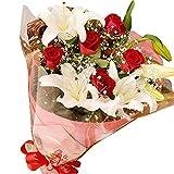 スイートラブ(お祝い用赤バラ&カサブランカ・花束) 翌日配達お花屋さん