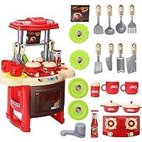 SUGE おままごと キッチンセット 台所セット ごっこ遊び 知育玩具 おもちゃ 組立式 食器 調理器具 キッズ 子供用 女の子 男の子 おもちゃ 誕生日 クリスマス プレゼント 入園祝い レッド