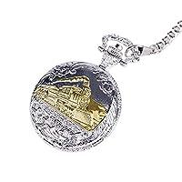 SJXIN 美しい懐中時計 大型銀エンボスパターン機関車ゴールド機関車懐中時計 (Color : 1)