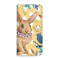 mitas REGZA Phone T-01D ケース 手帳型 ベルトなし うさぎ ウサギ 兎 ラビット イエロー (194) NB-0210-YE/T-01D