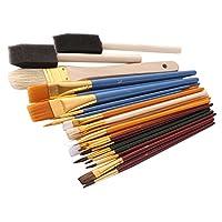 ペイントブラシセット スポンジブラシ アクリル絵の具 水彩画 初心者 学生 約25個セット