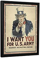 """JPロンドンfcnv2291FramedギャラリーラップHeavyweight Uncle Sam I Want YouヴィンテージArmyポスターキャンバス壁アート、26.375"""" High x 20.375"""" Wide X 1.25"""" Thick"""