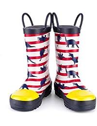 [KushyShoo] 長靴 キッズ レインブーツ ハンドル?収納袋付き 雨靴 女の子 男の子 男女兼用 梅雨対策 アウトドア 通園?通学用 13.5cm~22cm