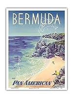 バミューダ - パン・アメリカン航空経由 - ビンテージな航空会社のポスター によって作成された レズノン c.1953 - アートポスター - 23cm x 31cm