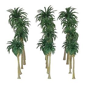 【ノーブランド品】鉄道模型 箱庭用 ストラクチャー 鉄道 風景 プラスチック製 椰子の木 7‐16cm 5サイズミックス 15本