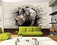 Wapel Beibehang 写真の壁紙サイの壁穴の動物壁画の入り口のベッドルームの壁 3 のリビングルームのテレビの背景の壁紙 d 絹の布 350x250CM