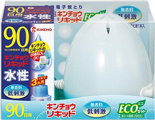 水性キンチョウリキッド コード式 蚊取り器 90日 セット 無香料 (器具1コ 90日液1本)