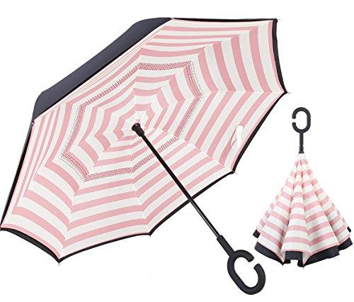 Supmaker 逆転傘 逆さ傘 逆折り式傘 母の日 自立傘 長傘 手離れC型手元 耐風 撥水加工 晴雨兼用 ビジネス用 車用 UVカット遮光遮熱 傘ケース付属 124センチ 2年品質保証