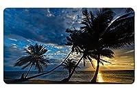 海岸、ヤシの木、夕日、熱帯 パターンカスタムの マウスパッド 海 デスクマット 大 (60cmx35cm)
